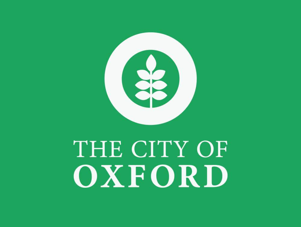 Oxford MS logo, white on green, by Confit, Oxford MS logo design
